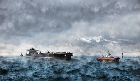 Tanker ship at sea during a storm. photo
