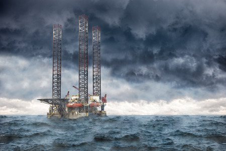 Oil Rig at sea during a storm.