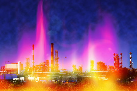 bionomics: Fire at oil refining plant - abstract view. Stock Photo