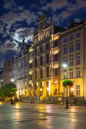 Picturesque tenement with illuminated on Long Market in Gdansk, Poland