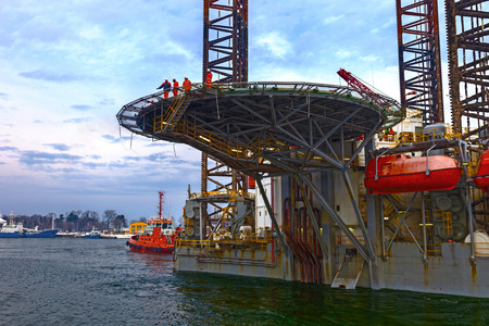 helicopter pad: Helicopter landing pad on Oil Rig Editorial