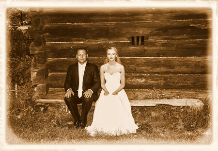 wedding portrait: Wedding photo session in rural scenery. Stock Photo