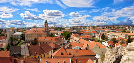 ramparts: Panorama of the city of Eger taken from the ramparts of the Eger fort, Hungary. Stock Photo
