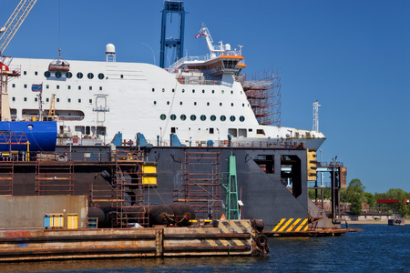 shiprepair: Ship is being renovated in shipyard Gdansk, Poland.