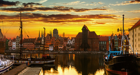 Gdansk at sunset - The historic city in Poland. photo