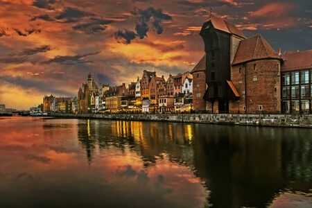 gdansk: The riverside with the characteristic Crane of Gdansk, Poland.