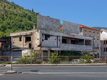 Old destroyed building after war in Mostar, Bosnia and Herzegovina. photo