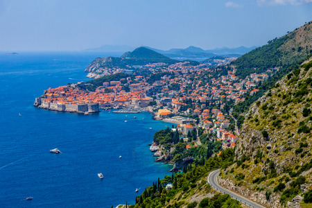 Top view of the seacoast of Dubrovnik, Croatia. photo