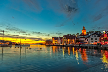 Stavanger at night - Charming town in the Norway. photo