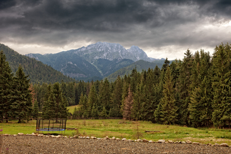 giewont: View of Tatra Mountains with Giewont in autumn, Poland. Stock Photo