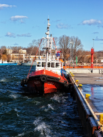 tug boat: Pilot Boat docked in wharf on Port of Gdynia, Poland.