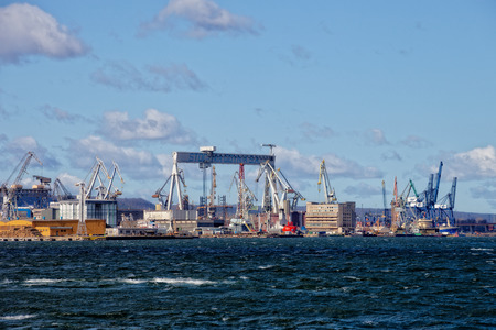 View of the shipyard and port of Gdynia, Poland.
