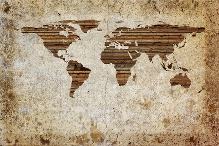 old rustic map: Grunge vintage wooden plank world map background. Stock Photo