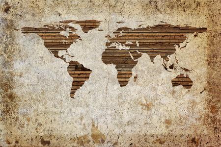 mapa conceptual: Tablón de madera fondo mapa del mundo Grunge vintage. Foto de archivo