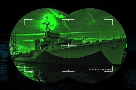 a battleship: Night vision watching at a warship - Concept Photo.