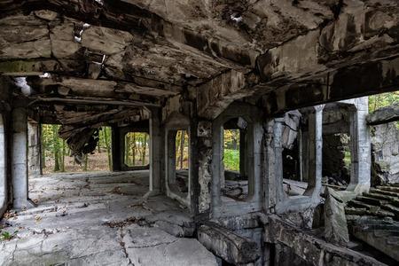 barracks: Image of the interior old destroyed military barracks after war.