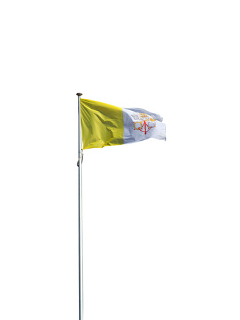 Vatican flag in the wind isolated on white background.