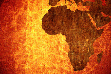 Grunge vintage scratched Africa map background.