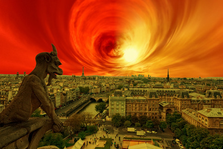 disruption: Apocalypse of sun explosion and magnetic storm - Conceptual photo.
