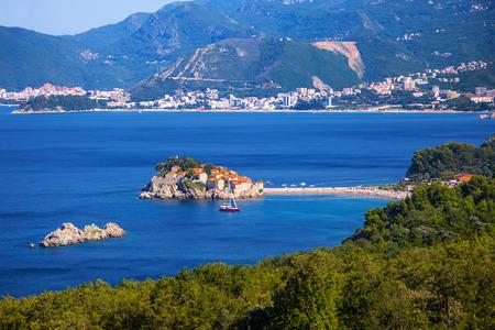 Beautiful Adriatic landscape with island of Sveti Stefan, Montenegro.