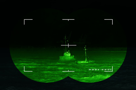nightvision: The search for the lost ship - sea rescue mission, Concept Photo.