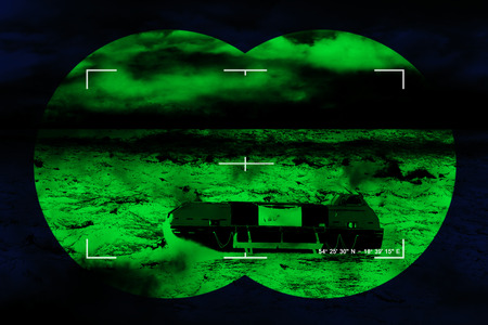 nightvision: The search for the lost lifeboat - sea rescue mission, Concept Photo. Stock Photo
