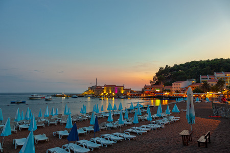 Beautiful night landscape of seaside town of Petrovac, Montenegro.