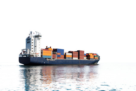 Photo of a container ship isolated on white background.