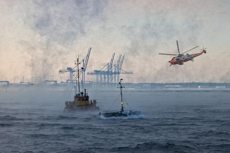 Een helikopter reddingsoperatie in moeilijke stormachtig weer.