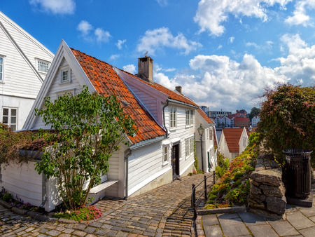 europe vintage: Street with white houses in the old part of Stavanger, Norway.
