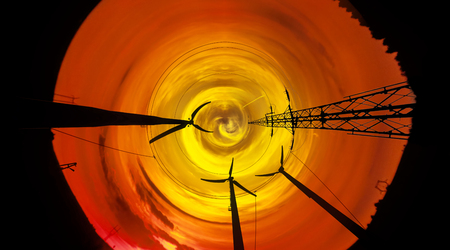 Silhouette power line tower on sunset - abstraction view. photo