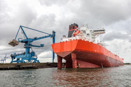 tanker ship: Huge tanker ship moored to a wharf. Stock Photo