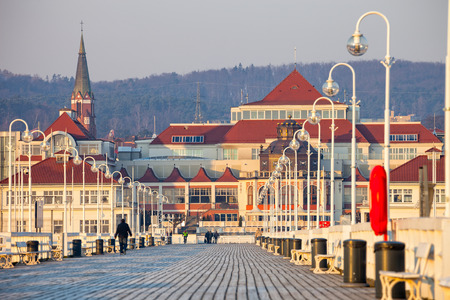 old pier: View from the pier on the beautiful architecture of Sopot, Poland.