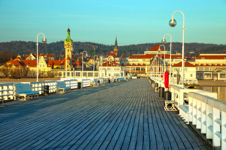 View from the pier on the beautiful architecture of Sopot, Poland. photo