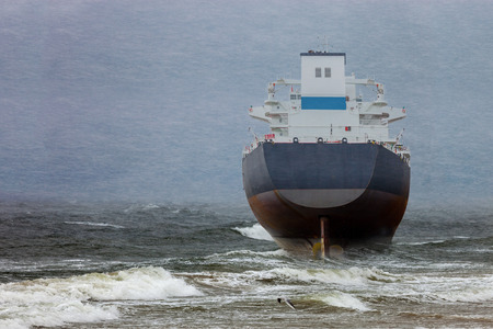 blizzard: Oil tanker in a winter storm day during a violent blizzard. Stock Photo