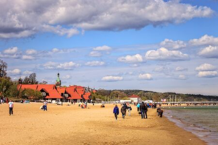 baltic people: Baltic coast beach scene of many people walk, relaxing and enjoying, on May 02, 2015 in Sopot, Poland.