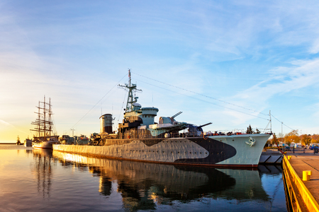 Warship at sunrise in the port of Gdynia, Poland. Editorial