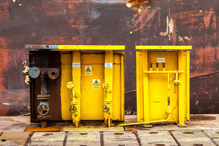 switching: Acetylene and oxygen switching board in shipyard. Stock Photo