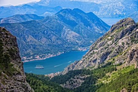 montenegro: Top view of the Bay of Kotor Montenegro panorama.