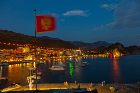 Tourists are relaxing at night on the pier on July 17 2014 in Petrovac Montenegro.