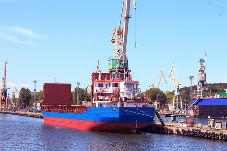 Cargo ship in the port of Gdynia Poland. photo