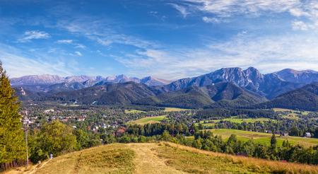 giewont: View from Gubalowka on the Tatra Mountains Poland. Stock Photo