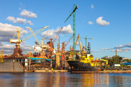 drydock: Construction site in the Shipyard of Gdansk Poland. Editorial