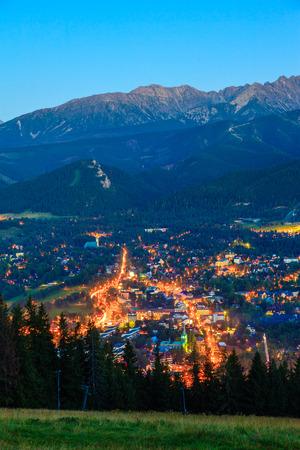 giewont: The view at night city Zakopane Poland. Editorial