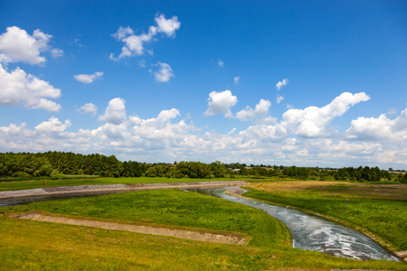 lublin: Water flowing from the dam to the river Wieprz in Nielisz Poland.