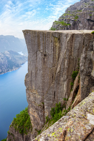 Side view of famous Pulpit Rock above Lysefjord in Norway.