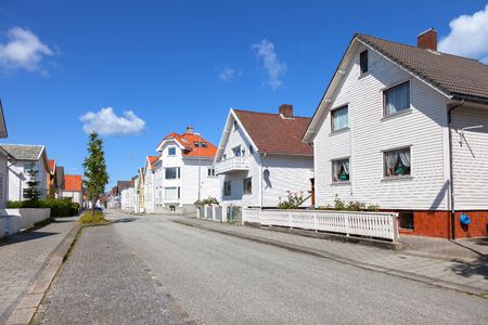 norwegian: Row of typical Norwegian houses in Stavanger.