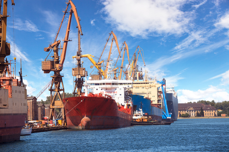 marine industry: Ships moored at the quay in shipyard of Gdansk, Poland.