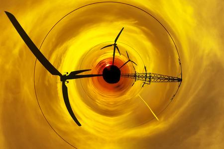 abstrakcja: Sylwetka zasilania linii wieża na zachód słońca - widok abstrakcji.