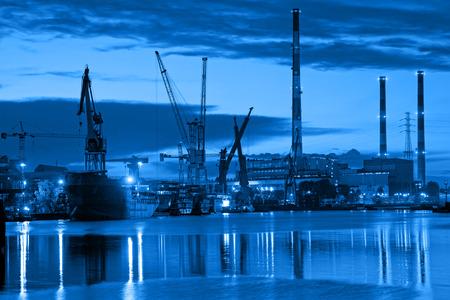 shipyard: Shipyard at night - industry concept. Stock Photo